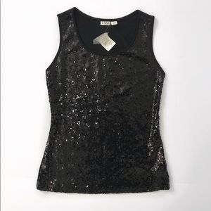NWT Cato Black sequin top blouse size M